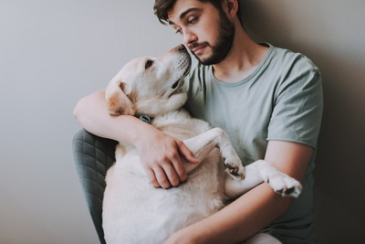 抱いたラブラドールを顔を見つめる男性