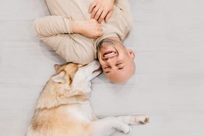 ハスキー犬と寝そべる男性