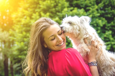 女性の上に乗る犬