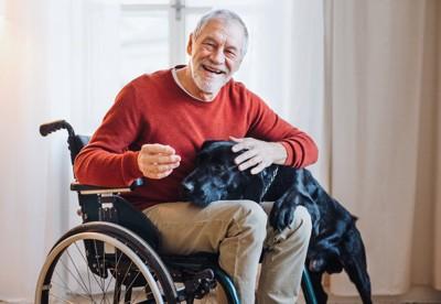 車椅子に乗る男性に寄り添う犬