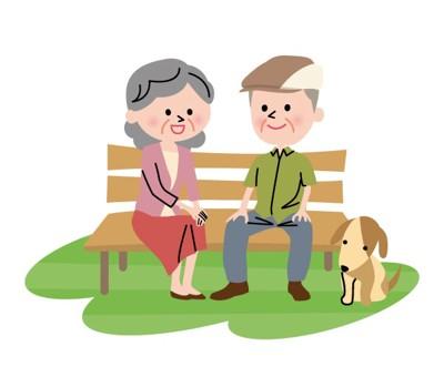 犬と老人のイラスト
