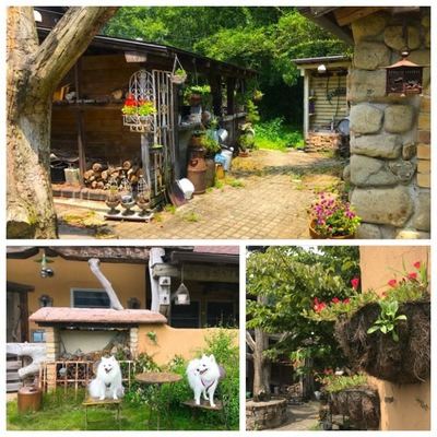 ヨーロッパ風の家や犬