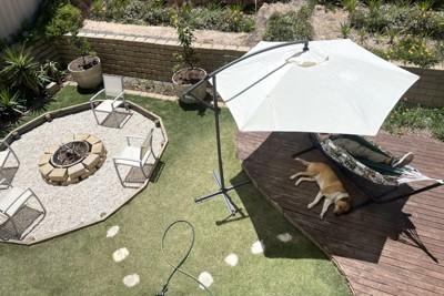 お庭で飼い主さんとお昼寝する犬