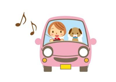 車の犬のイラスト