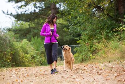 アイコンタクトしながら走る女性と犬