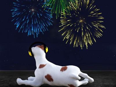 ヘッドフォンをつけて花火を見る犬