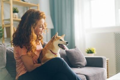 ソファーに座る女性と柴犬