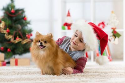 サンタ帽を被った子供とポメラニアン