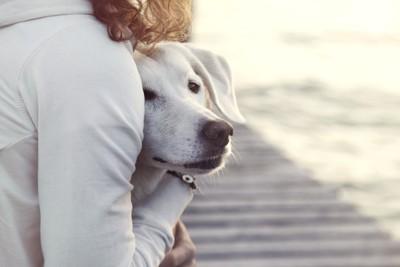 犬を抱きしめて守る女性
