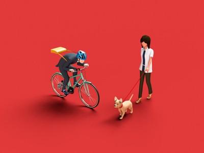お散歩中の犬と自転車に乗る人のイラスト