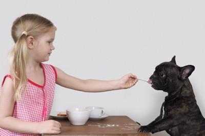 おやつを犬にお裾分けする女の子