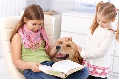 犬の頭を触って読書する女の子