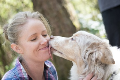 女性の頬を舐める犬