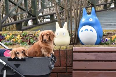 トトロの像と一緒に写っている犬