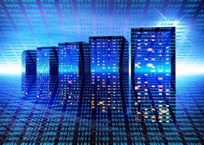 近未来的 並ぶブラックのコンピューター 背景青