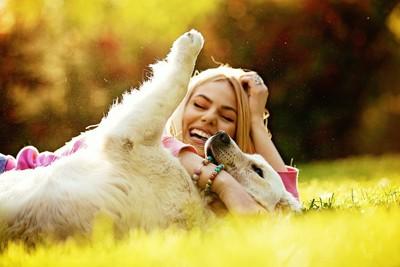 寝転んで遊ぶ犬と女性