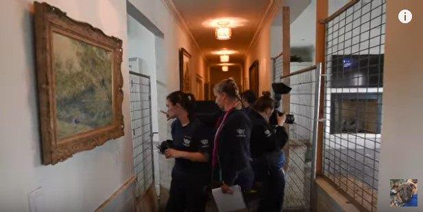 両脇に金属の格子がはまった長い廊下