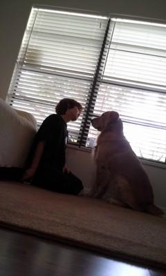 愛犬に話しかける
