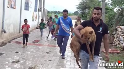 隣人達と老犬と救助隊員