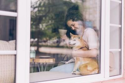 店内にいる柴犬と女性