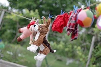 洗濯して干されたおもちゃ