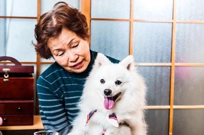 おばあさんと白い犬