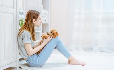 女性の膝の上に仰向けになっている犬