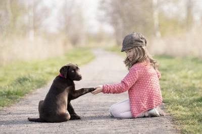 手を繋ぐ犬と子ども