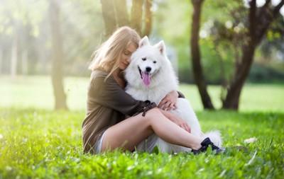芝生の上で大型犬を抱きしめる女性