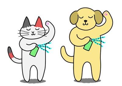臭い対応中の犬と猫