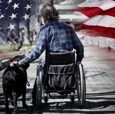 車いすの男性とセラピー犬と星条旗