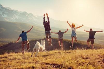 自然の中でジャンプする人たちと犬