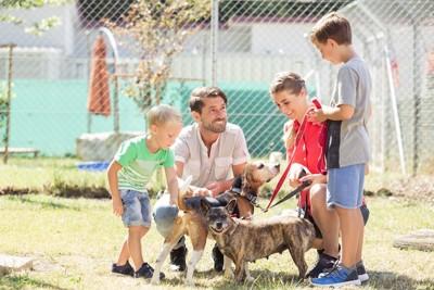 シェルターで犬を撫でる家族