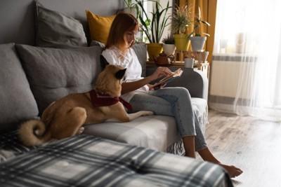 本を読む女性とそばに座る犬