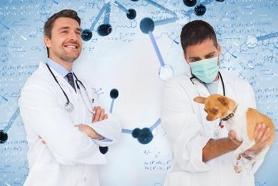 犬を抱いた科学者と遺伝子のイメージ