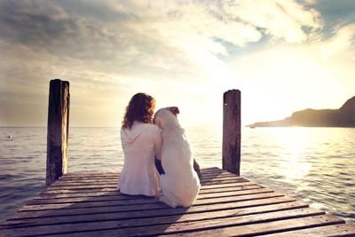寄り添う女性と白い犬の後ろ姿