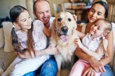 家族と大型犬