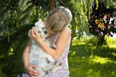 犬と女の子の写真