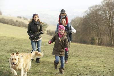 家族と一緒に散歩をする犬