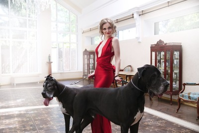 グレートデーンと赤いドレスの女性