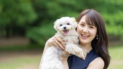 笑顔の女性に抱き上げられる白い犬
