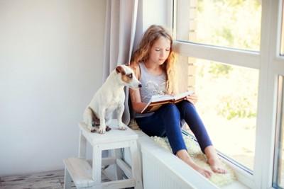 本を読む少女と犬