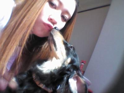 愛犬とチュー