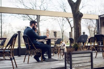 カフェでくつろぐ男性と犬