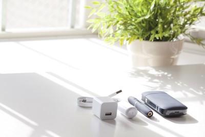 電子タバコのセットと観葉植物
