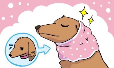 スヌードをかぶっている犬のイラスト