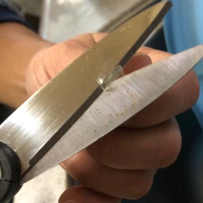 カプセルのふちを切る