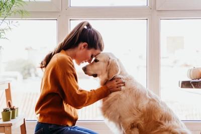 おでこをくっつけあった女性と犬