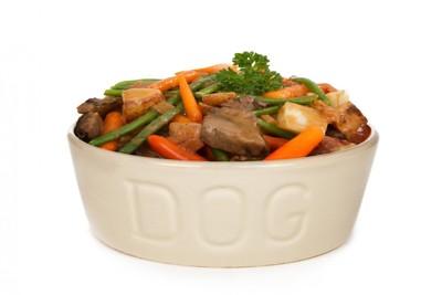 加熱した犬用の食事