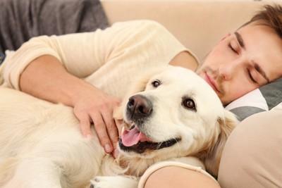 眠る飼い主と寄り添う犬